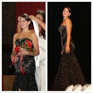 Alyce Designs beaded black silver mermaid dress